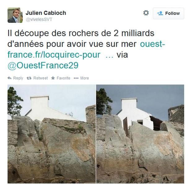 Para ter visão do mar, Francês destrói formação rochosa de dois bilhões de anos