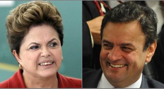 Na última pesquisa Ibope Dilma aparece com 53% e Aécio 47%