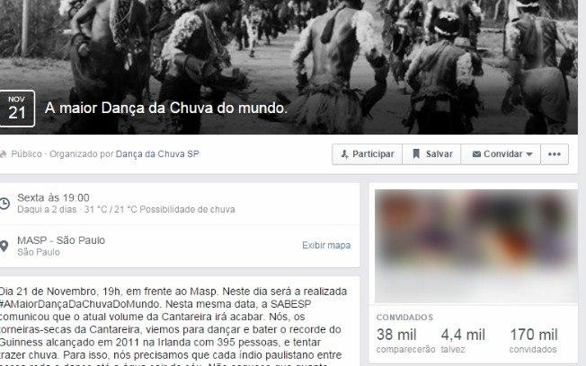 """Em São Paulo 38 mil pessoas confirmaram nas redes sociais participação em """"Dança da chuva"""""""