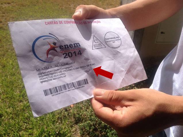 """Enem: Estudante coloca como ponto de referência """"boca de fumo"""" para receber cartão de inscrição"""