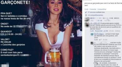 """Anúncio de empresa à procura de garçonete """"dar o que falar"""" em rede social"""