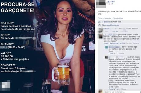 """Anúncio de empresa à procura de garçonete """"dá o que falar"""" em rede social"""