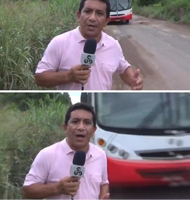 Repórter escapa de atropelamento durante gravação sobre estradas