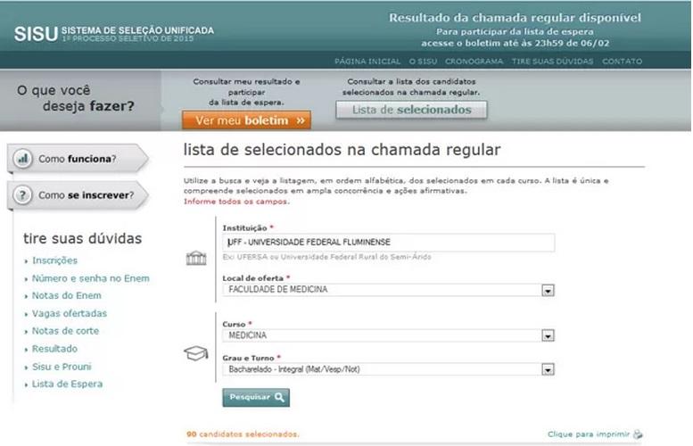 Confira a lista de aprovados do Sisu 2015 divulgada pelo MEC