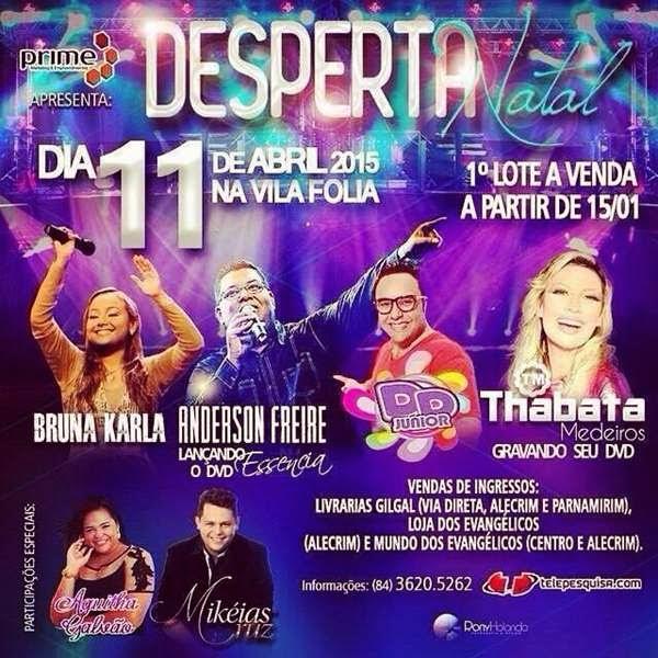 Desperta Natal com Bruna Karla e Anderson Freire na Vila Folia, acontece no sábado (11)