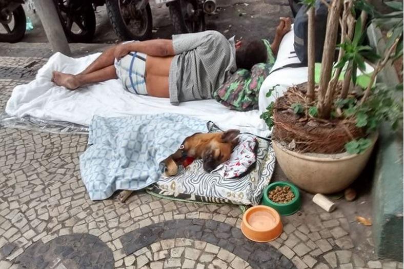 Morador de rua doa cama e cobertor para cão no Rio de Janeiro