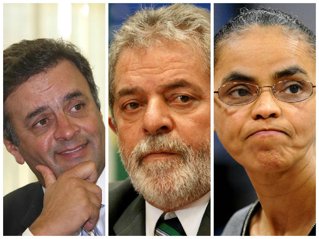 Pesquisa Datafolha aponta Aécio com 35% de intenção de votos, Lula, 25%, e Marina, 18%
