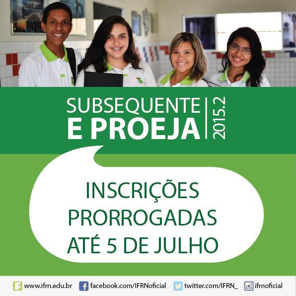 IFRN prorroga inscrições dos cursos técnico subsequente e ProEJA