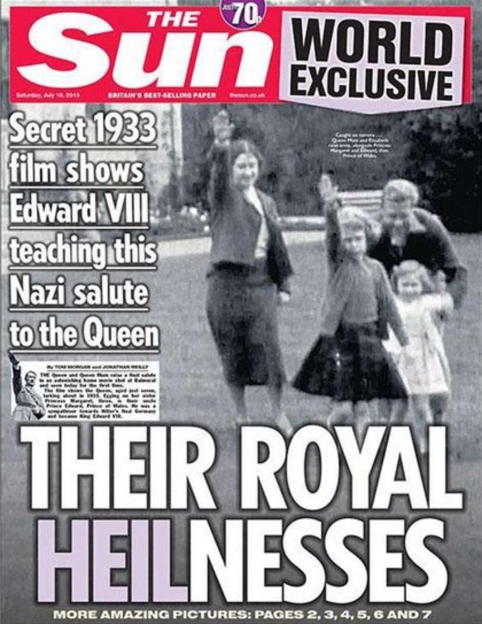 Jornal publica vídeo em que a rainha Elizabeth II faz saudação nazista
