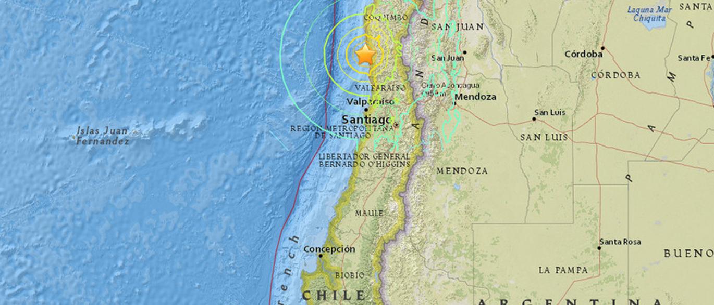 Terremoto de 7,9 graus atinge área central do Chile