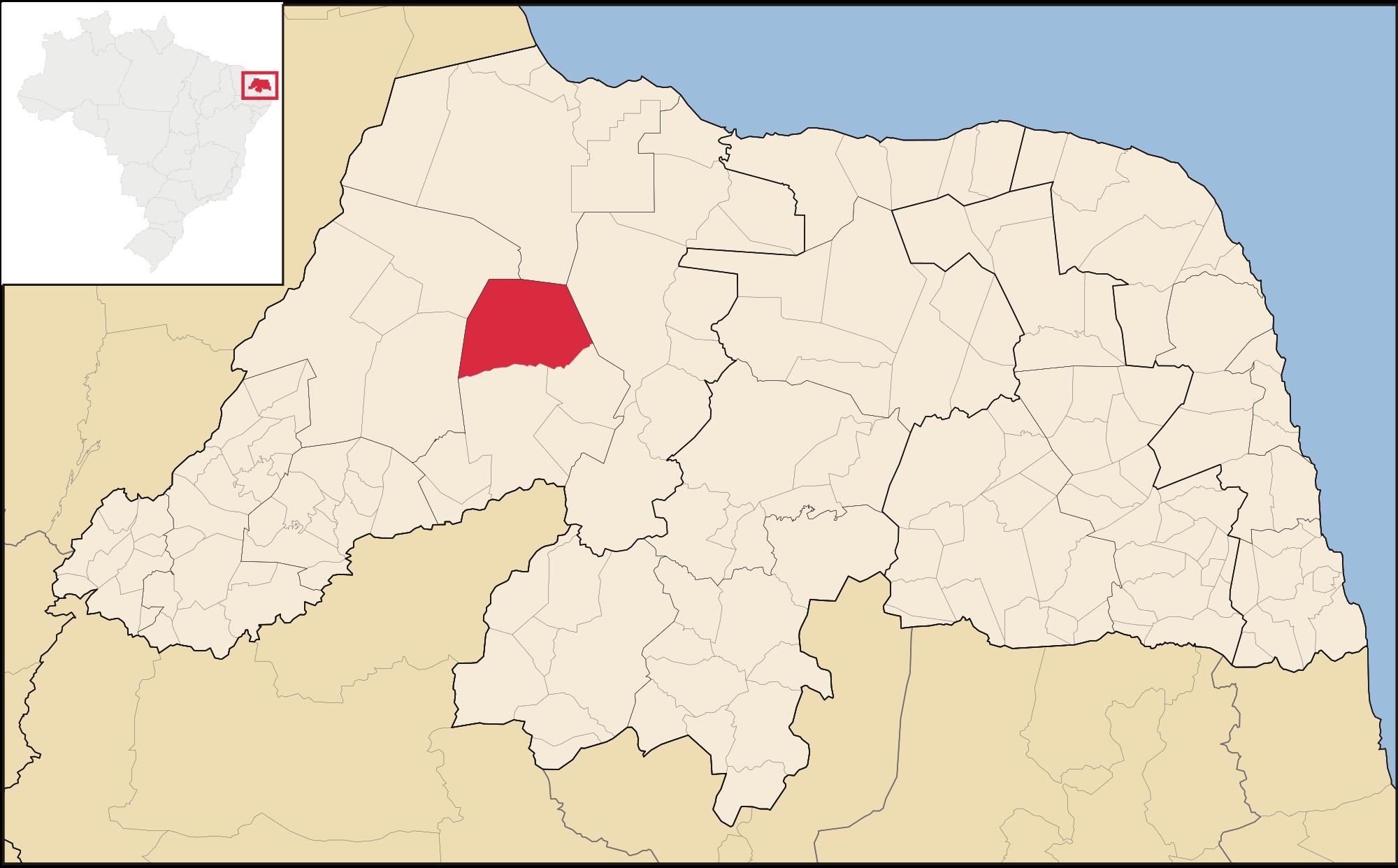 Mapa do Rio Grande Norte. Em destaque, a cidade Upanema
