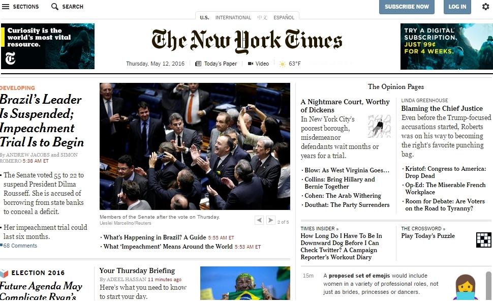 Afastamento de Dilma é manchete de mídia internacional