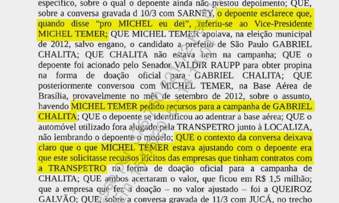 Delação de Sérgio Machado que cita o presidente interino Michel Temer (Reprodução)