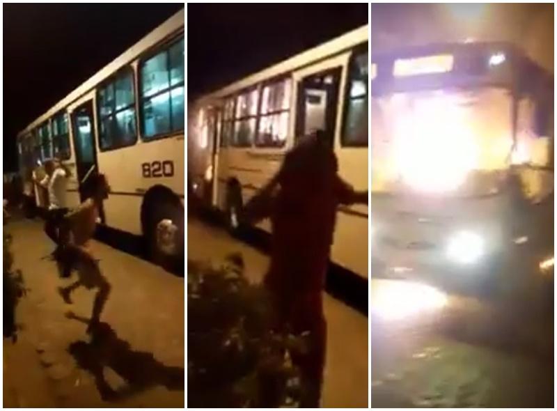 [VÍDEO] Em Parnamirim, bandidos ateiam fogo em ônibus da Trampolim