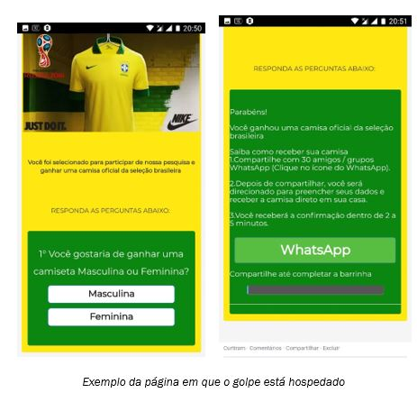 golpe whatsapp camisa seleção brasileira da copa do mundo
