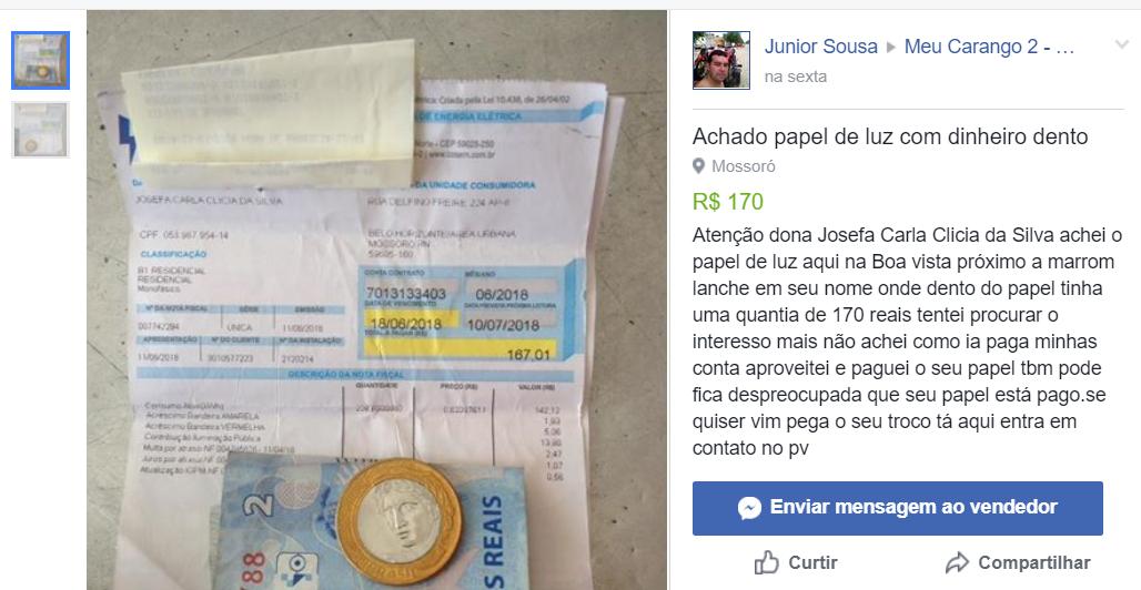Em Mossoró, homem acha R$ 170 em conta de energia e paga fatura de desconhecida