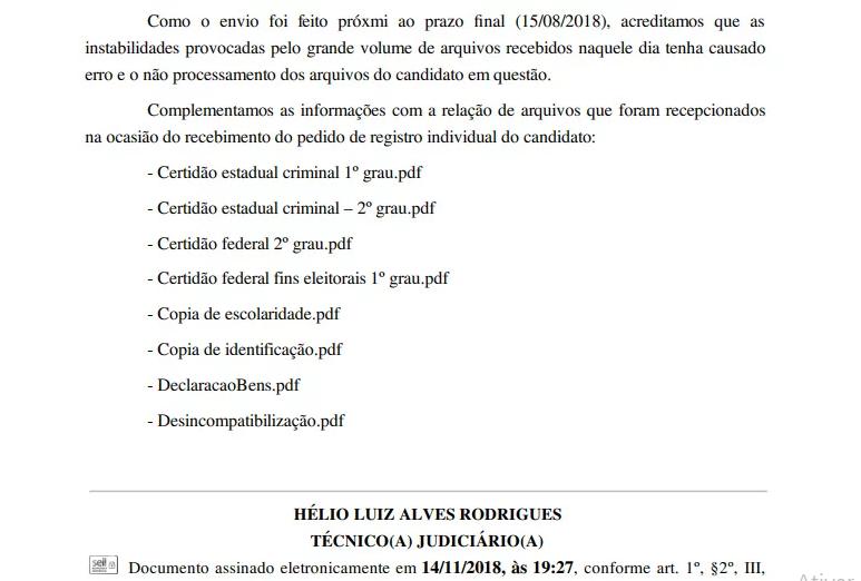 Erro em sistema pode fazer com que Beto Rosado tome vaga de Mineiro
