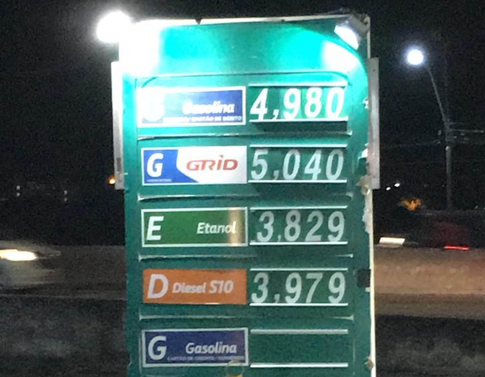 Preço da gasolina dispara nos postos de Natal