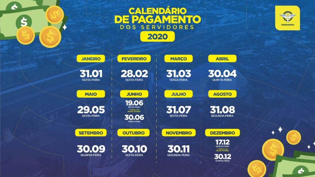Prefeitura de Parnamirim divulga calendário de pagamento de 2020