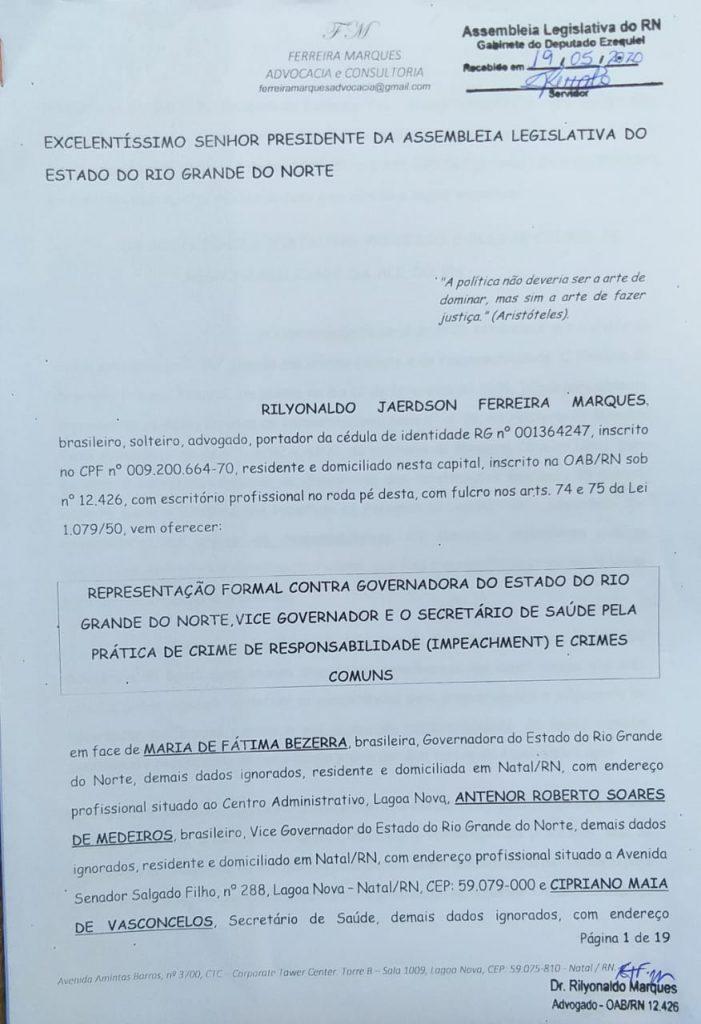 Advogado protocola pedido de impeachment contra Fátima Bezerra