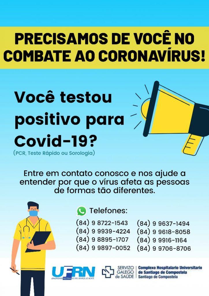 UFRN recruta voluntários que testaram positivo para Covid-19