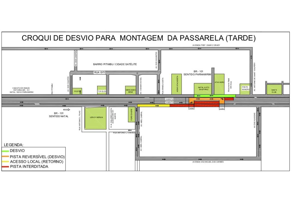 BR-101 será parcialmente interditada para instalação de passarela