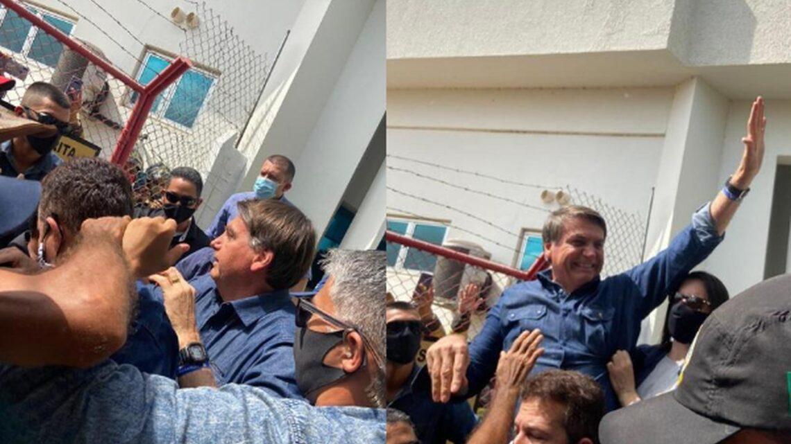 Sob gritos de 'mito', Bolsonaro é recebido por multidão em Mossoró