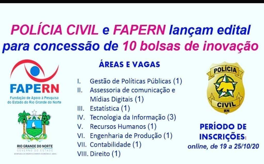 Polícia Civil e FAPERN abrem processo seletivo para 10 bolsas de pesquisa
