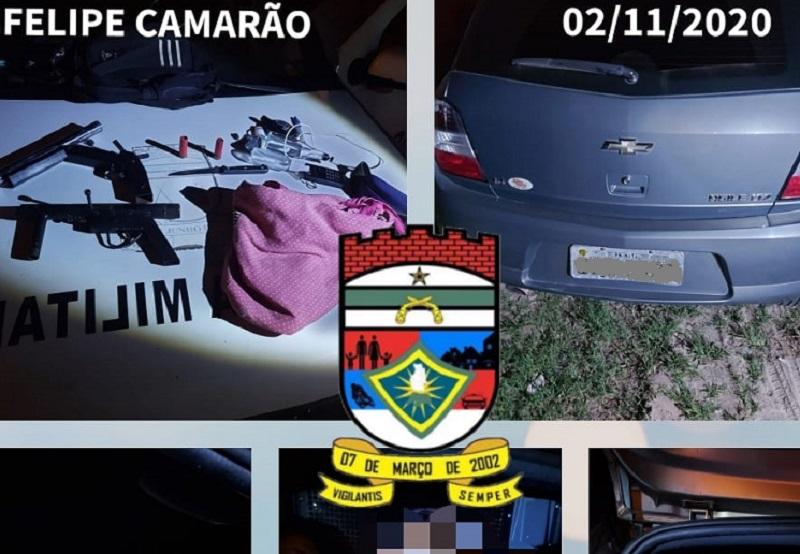 PM recupera carro roubado e prende assaltantes em Felipe Camarão