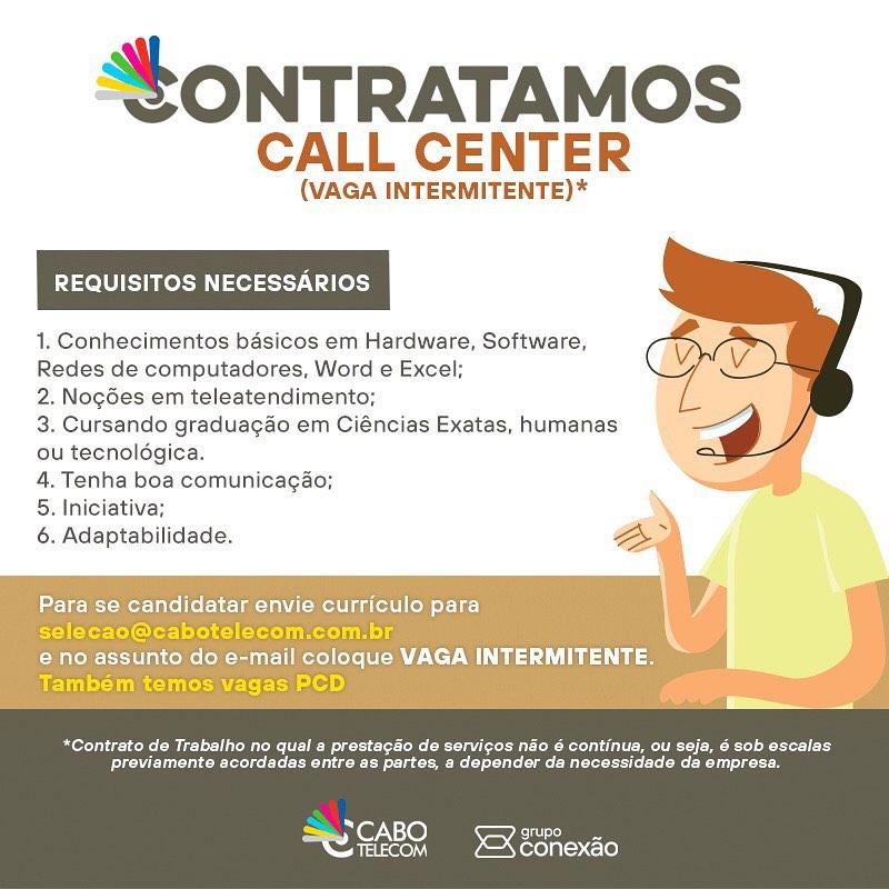 Cabo Telecom abre 30 vagas em seu Call Center