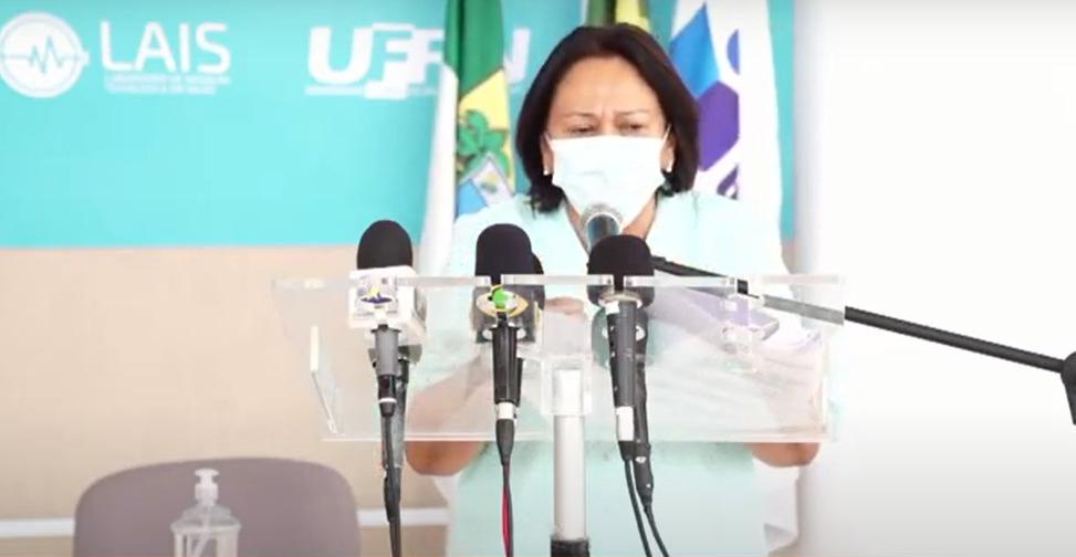 Emocionada, Fátima anuncia medidas mais rígidas para conter a Covid no RN