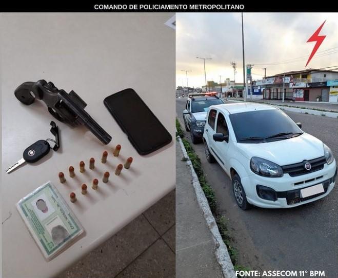 PM detém criminoso armado e recupera carro roubado em São Gonçalo do Amarante