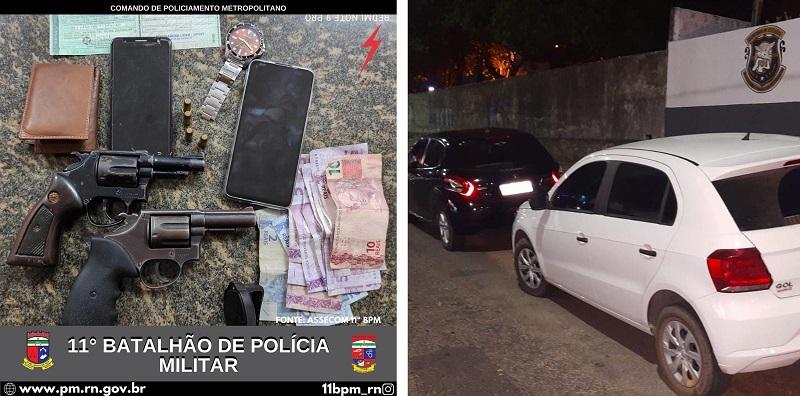 PM prende 4 homens e recupera 2 carros roubados na Grande Natal